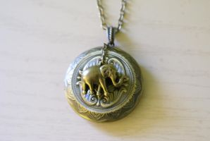 Lovely Little Elephant Locket by MonsterBrandCrafts