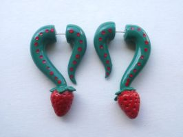 Strawberry Hook Fake Gauge Earring by cashewed-almonds