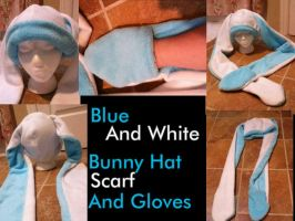 Blue and Whit Bunny Hat/Scarf/Gloves by ScArReDaRt4
