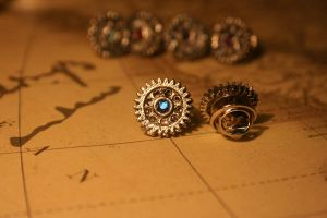 Blue Gear Pin by turnerstokens