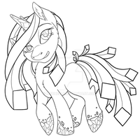 MLP: Lineart: Looking Glass Pony (Redesign) by Mychelle