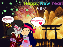 New Year 2015 from Kitty and Cyanne in Japan by Obeliskgirljohanny