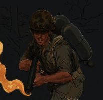 Marine with flamethrower color by JesusFood