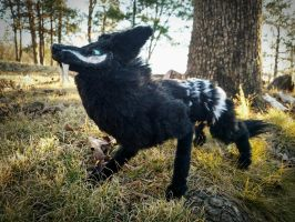 SOLD-Shield Wolf Posable Art doll. 3 by HoneyCricket