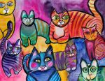 Colorful Cats 8 by jenthestrawberry