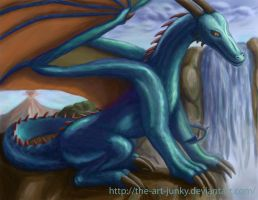 cyan dragon in tropical region by the-art-junky