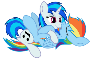 Rainbow Dash X Vinyl Scratch by TecknoJock