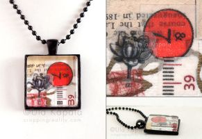 Wearable art - abstract collage pendant by ukapala