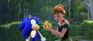 Sonic the hedgehog and Princess Anna by brandonale