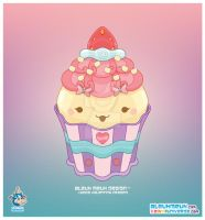 Kawaii White Choco Cupcake by KawaiiUniverseStudio