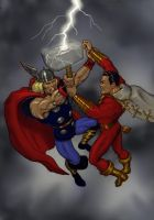 TLIID 246 Fight - Thor v Captain Marvel (Shazam) by Nick-Perks