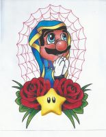 The Virgin Mario by Lucky-Cat-Tattoo