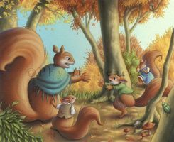Little Lost Squirrels by Red-Clover