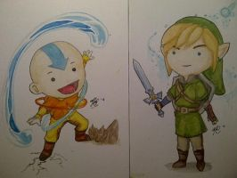 Aang and Link :) by Avaele