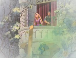 Rapunzel on the Balcony by x12Rapunzelx