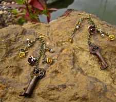 Amber Glow Steampunk Earrings by thevampirepandora
