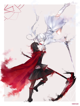 RWBY Red and White Rose by batensan