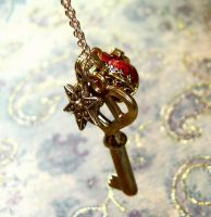 Charm Golden Heart Spirit Key by PrettyShinyThings