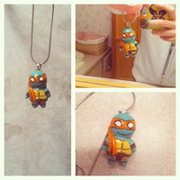 Michelangelo TMNT Clay Charm Necklace by Comsical