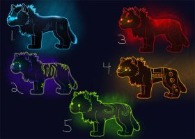 Neon Chibi Wolf Adoptables by Moose15