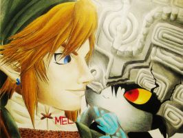 Link and Midna portrait by melmelly