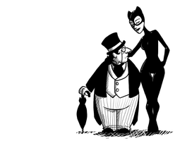 Penguin and Catwoman by Shaiger