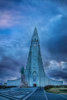 Hallgrimskirkja with blue by PatiMakowska