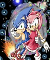 Sonic and Amy Space Grinding by XxNikuSamaxX