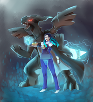 Fate(Nikola tesla) and (Pokemon)Zekrom by Nillratn