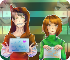 Between love and hate fits a piece of paper by Jellymii