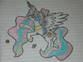 11th Doctor riding Celestia by carcaradontalicious