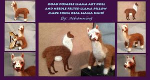 OOAK llama art doll and pillow: Artcrossing Gift by Zchanning