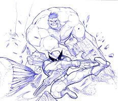 Wolvie vs hulkie by toonfed