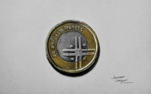 10 Rupee Coin Drawing by Anubhavg