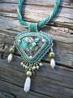 Abalone Mosaic and Pearl Necklace by LoriAtopexeBritt