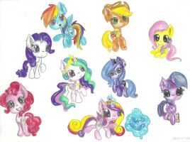 Chibi-alike creatures: Mane 6+Princesses by scootie-wootie