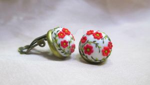 Red flower garden Cabochon Clip on Earrings by LenaHandmadeJewelry