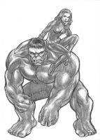 Hulk and Black Widow by huy-truong