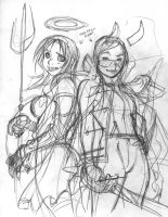 Rough for ROGUES GALLERY illo by AdamWarren