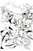 """Juggernaut vs. Colossus"" Ink by Yangsberg"