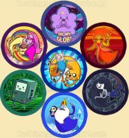 Adventure Time buttons by KaceyMeg