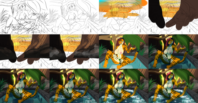 Topless Tigress Tub Progression by BagelCollector