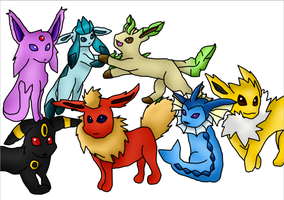 Eeveelutions by sydneytheskunk