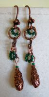 Green and Copper Earrings by solitarymuse