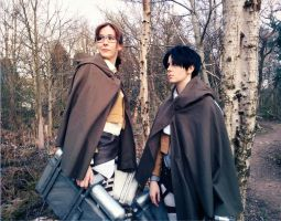 Levi and Hanji in the forest by silkybean