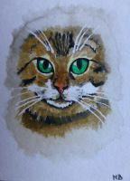Bengal cat miniature dollhouse watercolor painting by Actlikenaturedoes