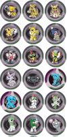 Psychic Type Pokemon Chibi Badges by RedPawDesigns