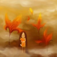 Autumn, girl and fox by ligreego