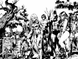 Batman family - Detailed inking (Finished Version) by J-Skipper