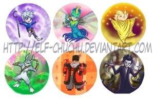 Rise of the Guardians-Button Set by Elf-chuchu